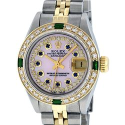 Rolex Ladies Two Tone 14K Pink MOP Diamond Sapphire & Emerald Datejust Wriswatch