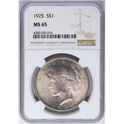 1925 $1 Peace Silver Dollar Coin NGC MS65 Nice Toning