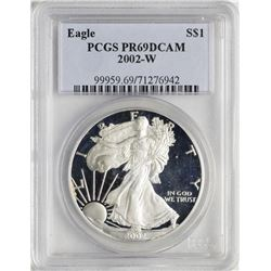2002-W $1 Proof American Silver Eagle Coin PCGS PR69DCAM