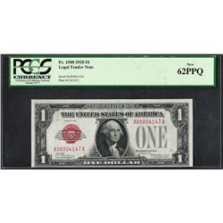 1928 $1 Legal Tender Note Fr.1500 PCGS New 62PPQ Low Serial Number