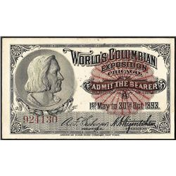 1893 Columbian Exposition Ticket Columbus
