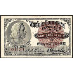 1893 Columbian Exposition Ticket Columbus