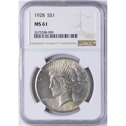 1928 $1 Peace Silver Dollar Coin NGC MS61