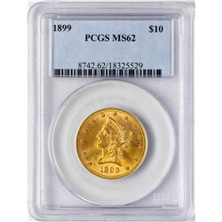 1899 $10 Liberty Head Eagle Gold Coin PCGS MS62