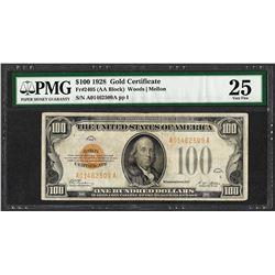 1928 $100 Gold Certificate Note Fr.2405 PMG Very Fine 25