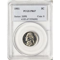 1951 Proof Jefferson Nickel Coin PCGS PR67