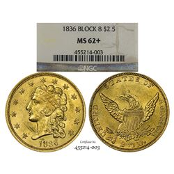 1836 Block 8 $2 1/2 Classic Head Gold Coin NGC MS62+ CAC