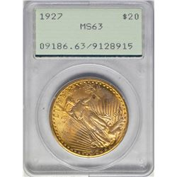 1927 $20 St. Gaudens Double Eagle Gold Coin PCGS MS63 Old Green Holder