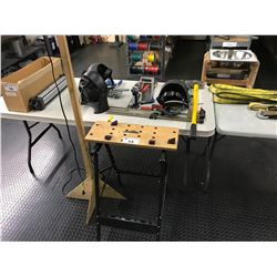 LOT OF ASSORTED TOOLS INC. SMALL WORK BENCH AND HAND TOOLS