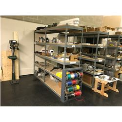 2 BAYS OF METAL STORAGE RACKING WITH ASSORTED CONTENTS AND WIRE SPOOL RACK