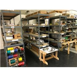 2 BAYS OF METAL STORAGE RACKING WITH ASSORTED CONTENTS AND STAINLESS STEEL BOWL ON STAND