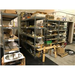 2 BAYS OF METAL STORAGE RACKING WITH ASSORTED CONTENTS AND SMALL WOOD BENCH