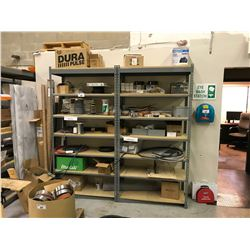 2 BAYS OF METAL STORAGE RACKING WITH ASSORTED CONTENTS