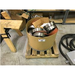 BIN OF HEAVY DUTY METALS WHEELS/CASTERS