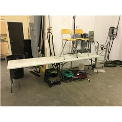 LOT OF ASSORTED WAREHOUSE SUPPLIES. INC. 4 FOLDING TABLES, BROOMS, HOSES, EXTENSION CORDS, CHAIRS,