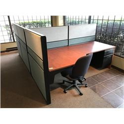 2 PERSON CHERRY AND GREY OFFICE WORKSTATION SYSTEM