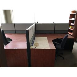 CHERRY AND GREY 4 PERSON OFFICE WORKSTATION SYSTEM WITH 4 CHAIRS