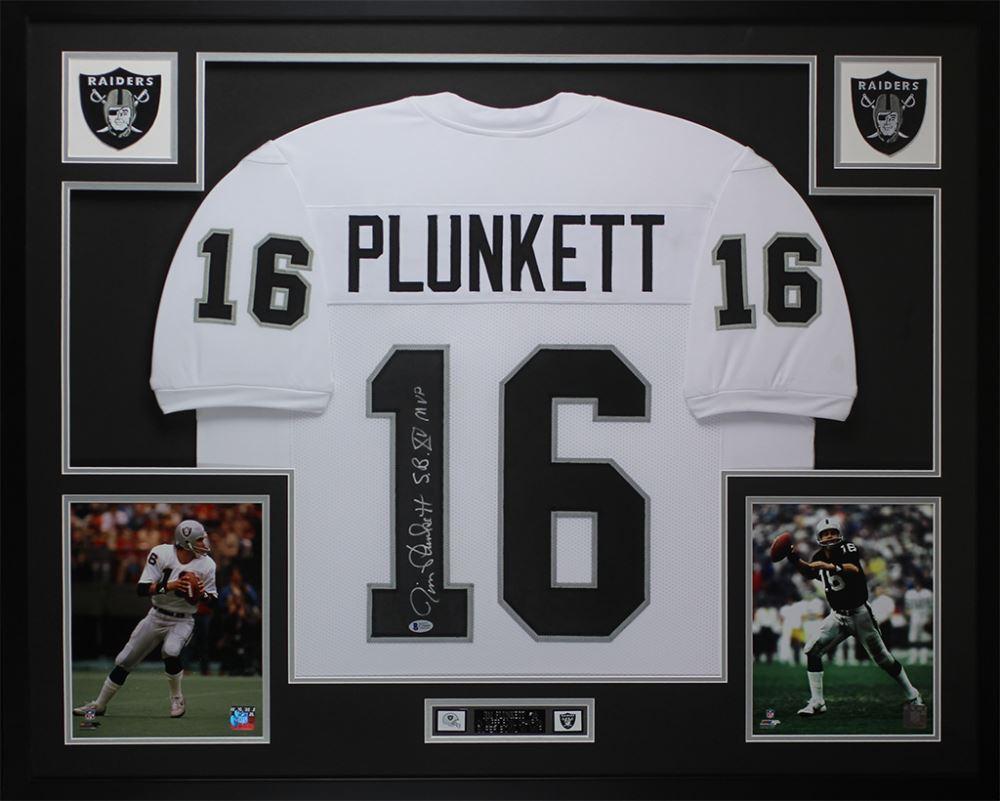 da8835bd2 Image 1 : Jim Plunkett Signed Raiders 35x43 Custom Framed Jersey Display  Inscribed