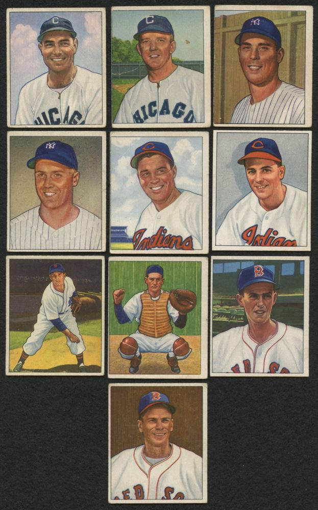 Lot Of 10 1950 Bowman Baseball Cards With 93 Gene Bearden