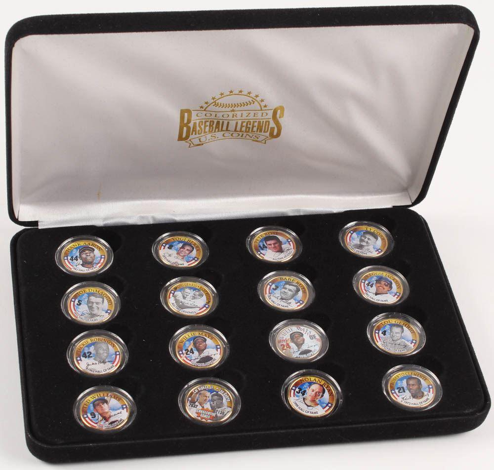 GOLDEN BASEBALL LEGENDS 24K Gold Plated State U.S Quarters 15-Coin Complete Set