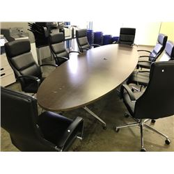 DARK WOOD 12'X4' OVAL BOARDROOM TABLE