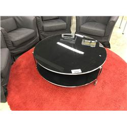 "BLACK 36"" GLASS MOBILE ROUND COFFEE TABLE"