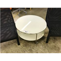 WHITE 24'' GLASS MOBILE ROUND COFFEE TABLE