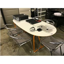 WHITE 6FT OVAL LUNCH TABLE WITH 6 CHROME  CHAIRS WITH CUSHIONS