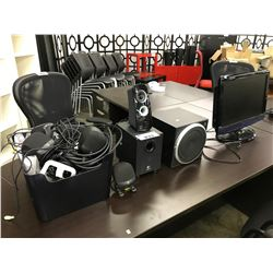 LOT OF MISC SPEAKERS AND A TOSHIBA LCD TV (NO REMOTES)