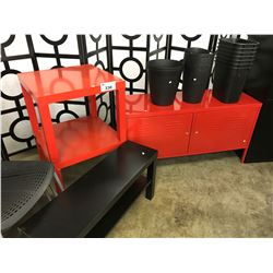 LOT OF MISC RED AND BLACK TABLES, STORAGE UNIT AND WASTE RECEPTACLES
