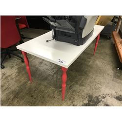 WHITE AND PINK LUNCHROOM TABLE