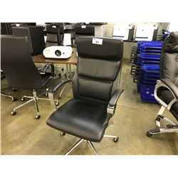 BLACK LEATHER EURO STYLE CHROME FRAMED HIGH BACK EXECUTIVE CHAIR