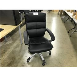 BLACK LEATHER MIDBACK EXECUTIVE CHAIR