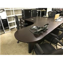DARK ESPRESSO L-SHAPE EXECUTIVE DESK, LEFT HAND