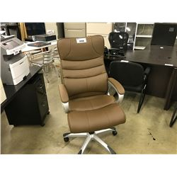 BROWN LEATHER TUFTED EXECUTIVE HIGH BACK CHAIR
