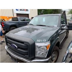 2012 FORD F250 SUPERDUTY, FLATDECK, GREEN, GAS, AUTOMATIC, VIN#1FTBF2A6XCEB88362, 31,234KMS,