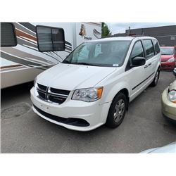 2012 DODGE GRAND CARAVAN, 4DR VAN, WHITE, VIN # 2C4RDGBG7CR271906