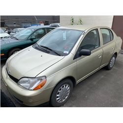 2000 TOYOTA ECHO, BROWN, 4DRSD, GAS, MANUAL, VIN#JTDBT1233Y0030358, 190,047KMS, RD,CD, NO ICBC