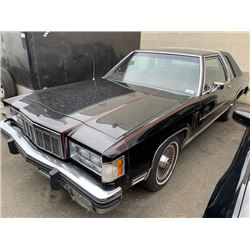 1981 MERCURY GRAND MARQUIS, BLACK, 2DRCP, GAS, AUTOMATIC, VIN#1MEBP84GXBZ634102, TMU,