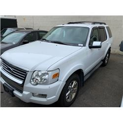 2010 FORD EXPLORER XLT, WHITE, GAS, AUTOMATIC, VIN#1FMEU7DE0AUA16388, 166,696KMS,