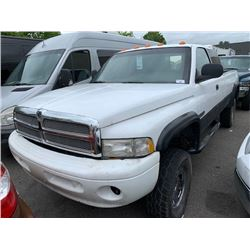 2001 DODGE RAM 2500, 2DR PU EX CAB, WHITE, VIN # 1B7KF23681J225345