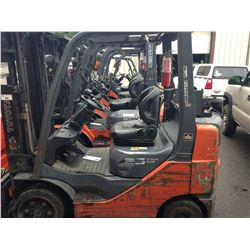 "ORANGE TOYOTA PROPANE FORKLIFT MODEL 8FGCU25, 5,000LBS, 3 STAGE MAST, SIDE SHIFT, WITH 48"" FORKS"