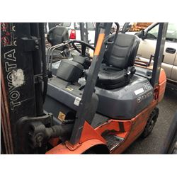 "ORANGE TOYOTA PROPANE FORKLIFT MODEL 7FGU25, 5,000LBS, 3 STAGE MAST, SIDE SHIFT, WITH 46"" FORKS"