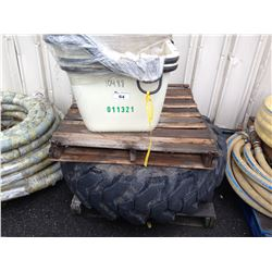 LARGE TRACTOR TIRE & PALLET OF CONSTRUCTION BINS AND PARTS