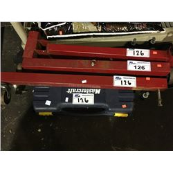 3 PIECE RED ENGINE STAND, MASTERCRAFT SAWZALL TOOL WITH CASE