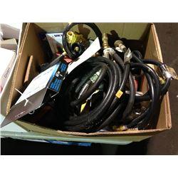 BOX OF ASSORTED PROPANE HOSE & REGULATOR KITS