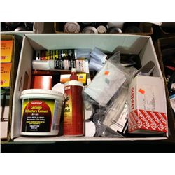 BOX OF MISCELLANEOUS SILICONE, GLASS LOG CLEANER, CASTABLE REFRACTORY CEMENT & STOVE POLISH PASTE