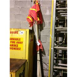 LOT OF EQUIPMENT FLAGS & ROLL OF METAL BANDING