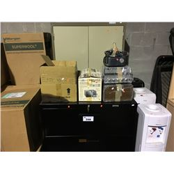 BLACK FILE CABINET, METAL TABLE WITH WOOD TOP, AIR PURIFIER & MISCELLANEOUS