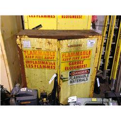 YELLOW 2 DOOR FIREPROOF STORAGE CABINET